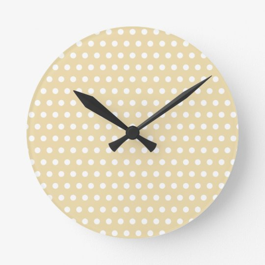 Beige and White Polka Dot Pattern. Spotty. Round Clock