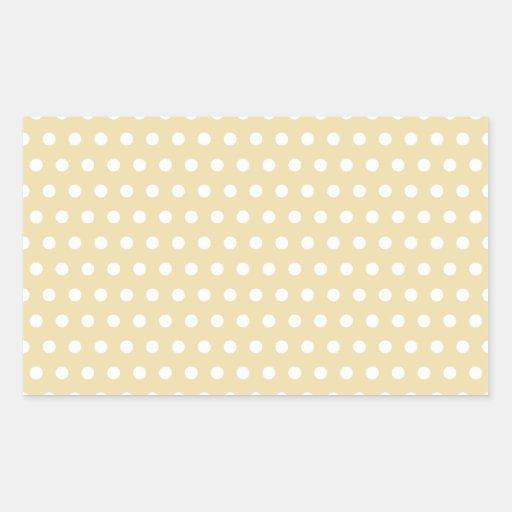 Beige and White Polka Dot Pattern. Spotty. Rectangle Sticker