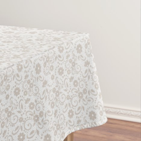 Beige and white pretty floral tablecloth