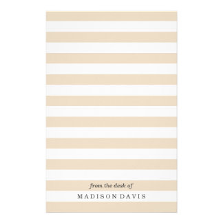 Beige and White Stripes   Personalized Stationery