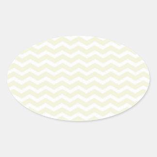 Beige-And-White-Zigzag-Chevron-Pattern Oval Sticker