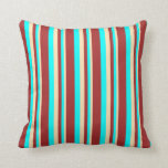[ Thumbnail: Beige, Aqua, and Brown Colored Lines Throw Pillow ]