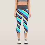 [ Thumbnail: Beige, Aqua, Blue, Gray, and Black Colored Lines Leggings ]