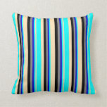 [ Thumbnail: Beige, Aqua, Blue, Gray, and Black Colored Lines Throw Pillow ]