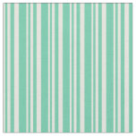[ Thumbnail: Beige & Aquamarine Lined Pattern Fabric ]