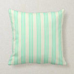 [ Thumbnail: Beige & Aquamarine Lines Pattern Throw Pillow ]