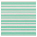 [ Thumbnail: Beige & Aquamarine Lines/Stripes Pattern Fabric ]