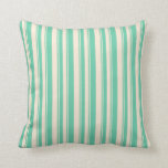 [ Thumbnail: Beige & Aquamarine Lines/Stripes Pattern Pillow ]