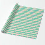[ Thumbnail: Beige & Aquamarine Lines/Stripes Pattern Wrapping Paper ]