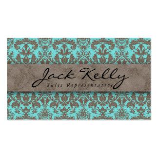 Beige azul 2 del ante del damasco de la tarjeta de plantillas de tarjetas de visita