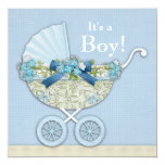 Beige Baby Blue Baby Carriage Boy Shower Custom Announcements