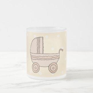 Beige Baby Pram. On spotty background. Frosted Glass Coffee Mug