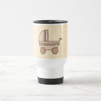 Beige Baby Pram. On spotty background. Travel Mug