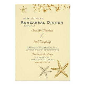 Beige Beach Themed Starfish Rehearsal Dinner 5x7 Paper Invitation Card