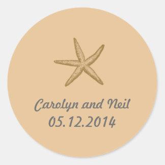 Beige Beach Themed Starfish Wedding Favor Classic Round Sticker