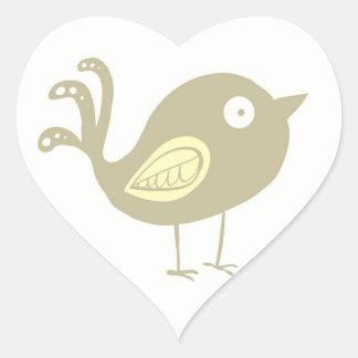 Beige Bird Heart Sticker