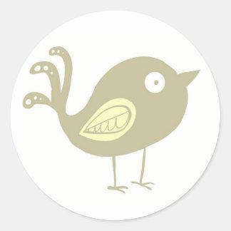 Beige Bird Classic Round Sticker