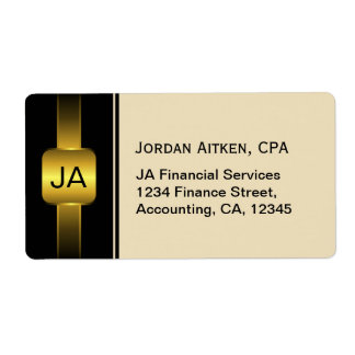 Beige Black and Gold Coins CPA Accountant Large Label