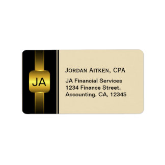 Beige Black and Gold Coins CPA Classy Accountant Label