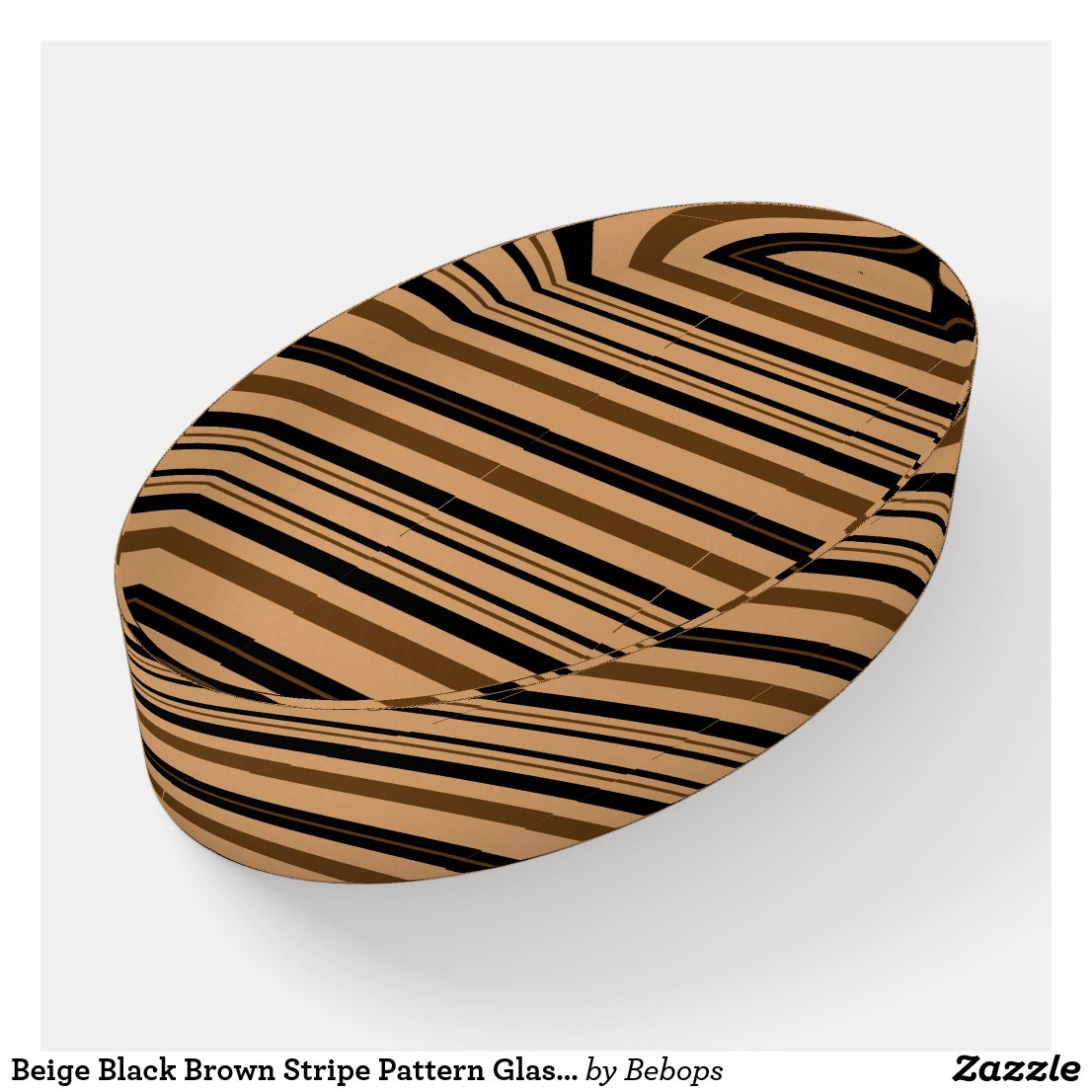 Beige Black Brown Stripe Pattern Glass Paperweight
