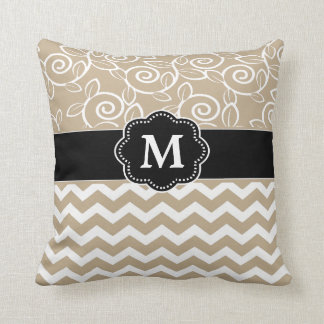 Beige Black Chevron Monogram Pillows
