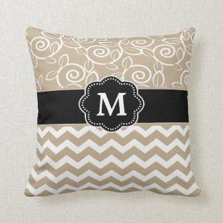 Beige Black Chevron Monogram Throw Pillow