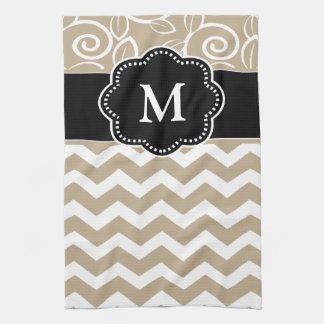 Beige Black Chevron Monogram Towel