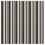 [ Thumbnail: Beige & Black Colored Lines/Stripes Pattern Fabric ]