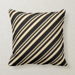 [ Thumbnail: Beige & Black Colored Lines/Stripes Pattern Pillow ]