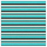 [ Thumbnail: Beige, Black & Dark Turquoise Stripes Pattern Fabric ]