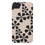Beige Black Floral iPhone 4 Cover