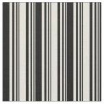 [ Thumbnail: Beige & Black Lines/Stripes Pattern Fabric ]
