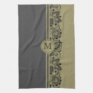 Beige & Black Natural Linen & Black Lace 2 Towel