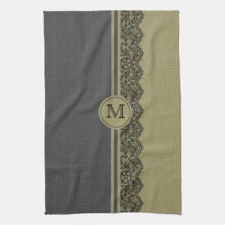 Beige & Black Natural Linen & Black Lace Towel