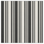 [ Thumbnail: Beige & Black Striped Pattern Fabric ]