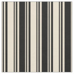 [ Thumbnail: Beige & Black Stripes Fabric ]