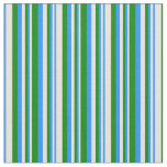 [ Thumbnail: Beige, Blue, and Green Stripes Pattern Fabric ]