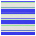[ Thumbnail: Beige, Blue, and Light Green Colored Stripes Fabric ]