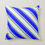 [ Thumbnail: Beige, Blue, and Light Green Colored Stripes Throw Pillow ]