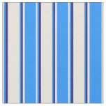 [ Thumbnail: Beige, Blue, and Midnight Blue Stripes Pattern Fabric ]