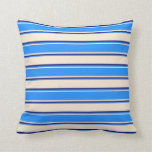 [ Thumbnail: Beige, Blue, and Midnight Blue Stripes Pattern Throw Pillow ]