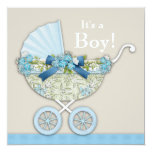 Beige Blue Baby Carriage Boy Shower Personalized Invitations