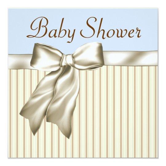 Beige Blue Brown Baby Shower Invitations