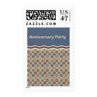Beige, Blue & Burgundy Bullseye Anniversary Party Postage Stamp