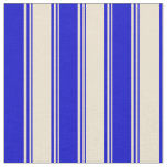 [ Thumbnail: Beige & Blue Colored Lines Pattern Fabric ]