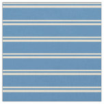 [ Thumbnail: Beige & Blue Colored Lines/Stripes Pattern Fabric ]