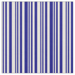 [ Thumbnail: Beige & Blue Colored Stripes/Lines Pattern Fabric ]
