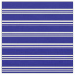 [ Thumbnail: Beige & Blue Colored Stripes Pattern Fabric ]