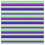[ Thumbnail: Beige, Blue, Dark Violet, and Light Green Stripes Fabric ]