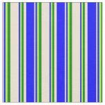 [ Thumbnail: Beige, Blue, Light Green, and Green Lines Fabric ]